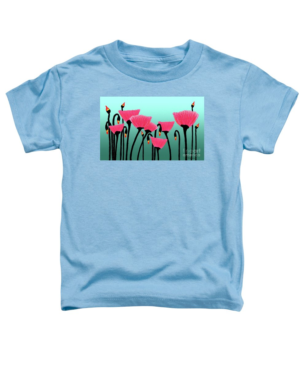 Bloom Toddler T-Shirt featuring the photograph Expressive Red Pink Green Poppy Painting Y1a by Ricardos Creations