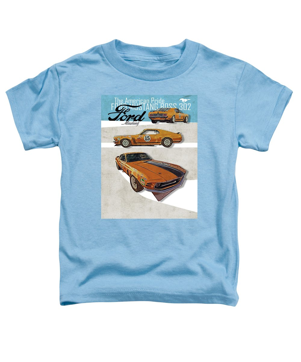 1968 Shelby Toddler T-Shirt featuring the digital art Ford Mustang Boss 302 by Yurdaer Bes