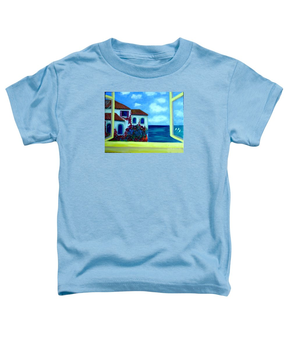 Seascape Toddler T-Shirt featuring the painting Fresh Sea Air by Laurie Morgan