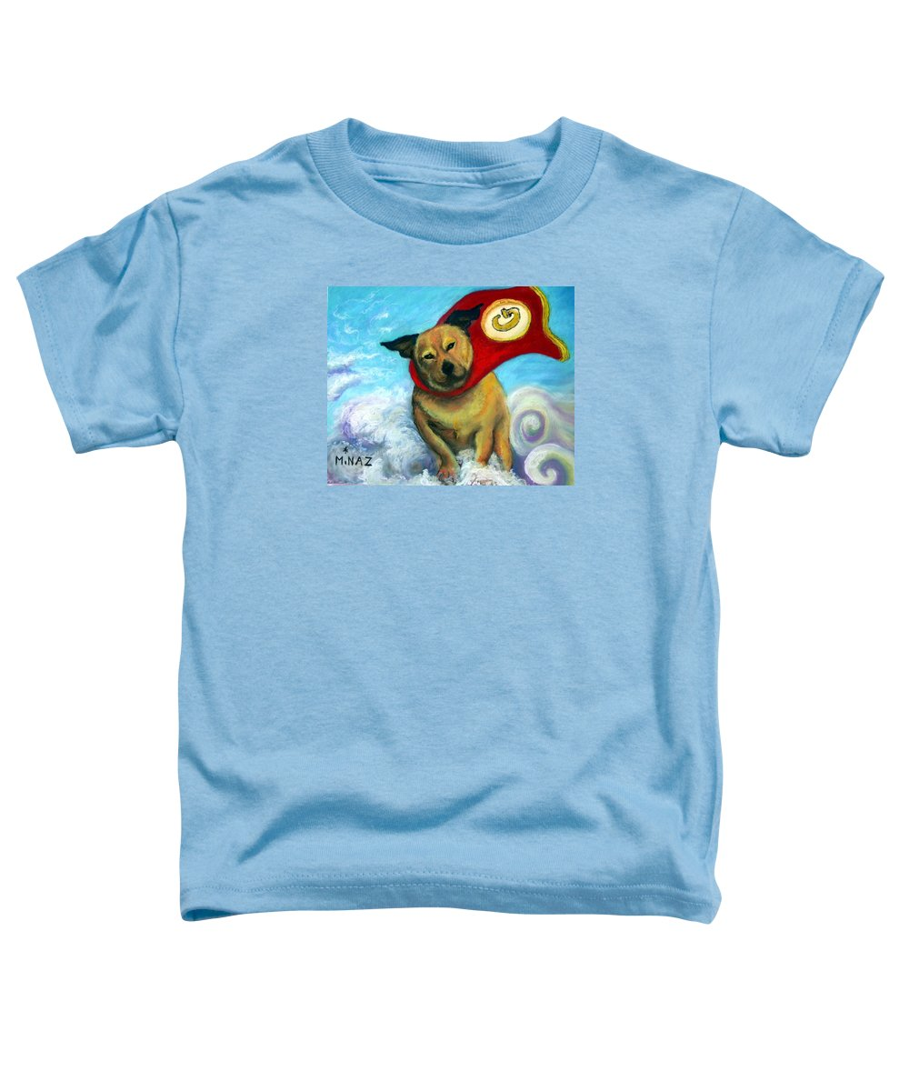 Dog Toddler T-Shirt featuring the painting Gizmo The Great by Minaz Jantz