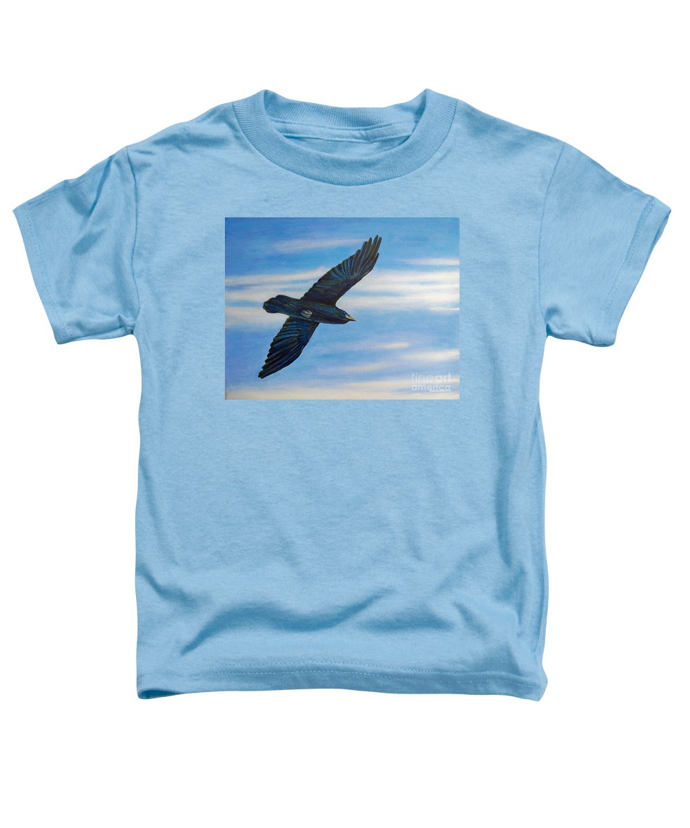 Bird Toddler T-Shirt featuring the painting Going Home by Brian Commerford