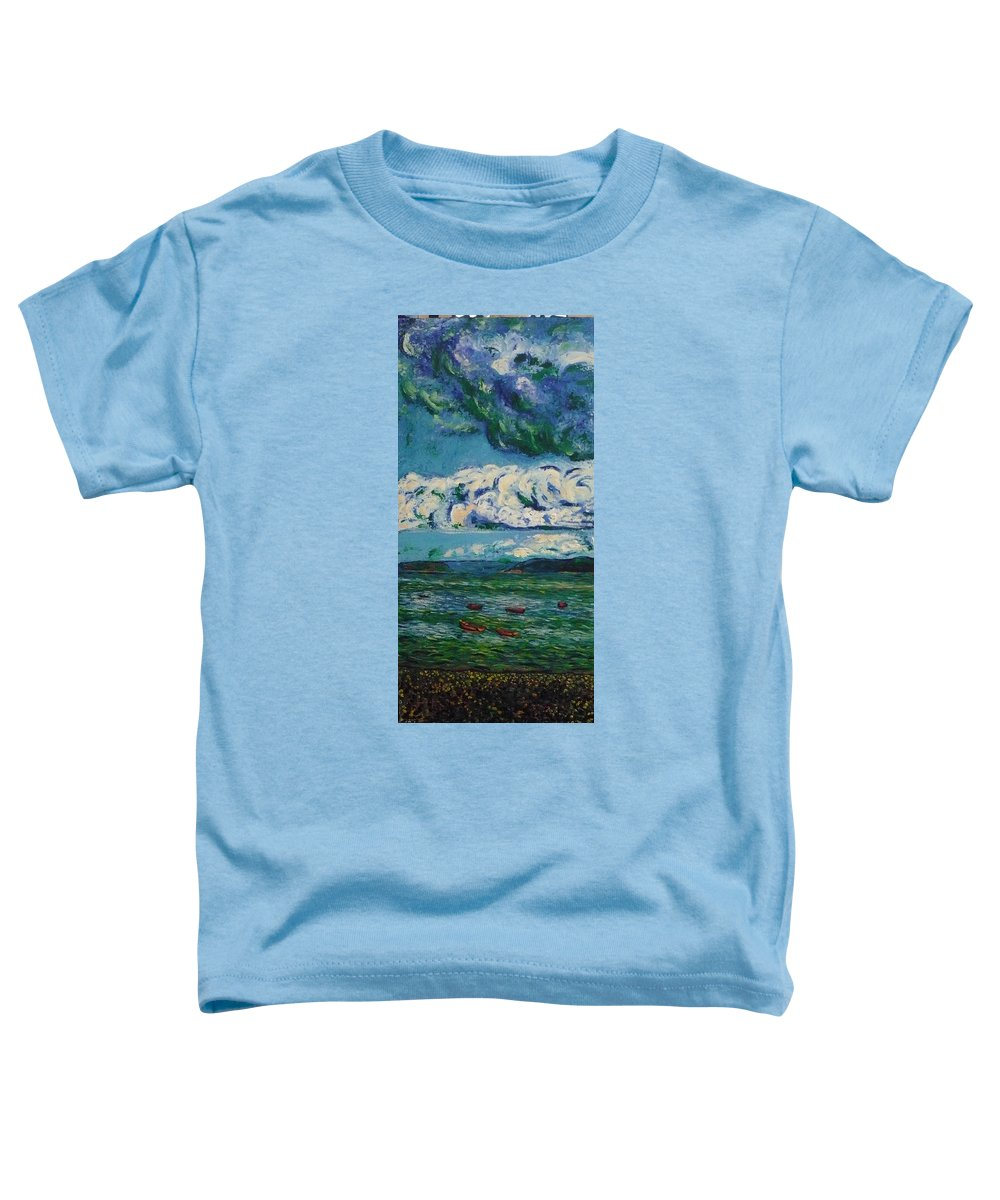 Landscape Toddler T-Shirt featuring the painting Green Beach by Ericka Herazo