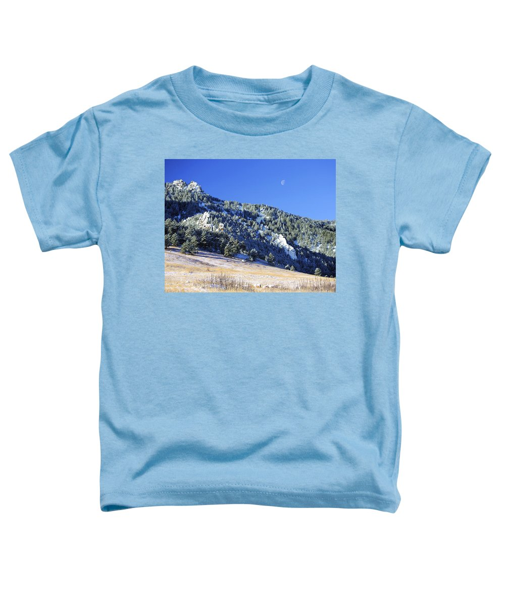 Nature Toddler T-Shirt featuring the photograph Half Moon Over The Flatirons by Marilyn Hunt