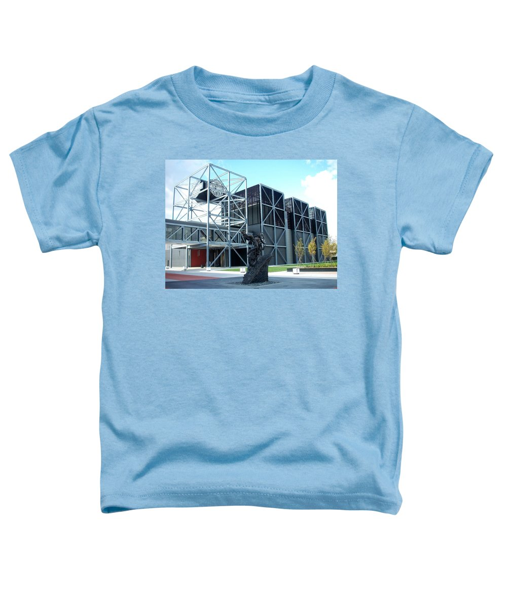 Architechture Toddler T-Shirt featuring the photograph Harley Museum And Statue by Anita Burgermeister