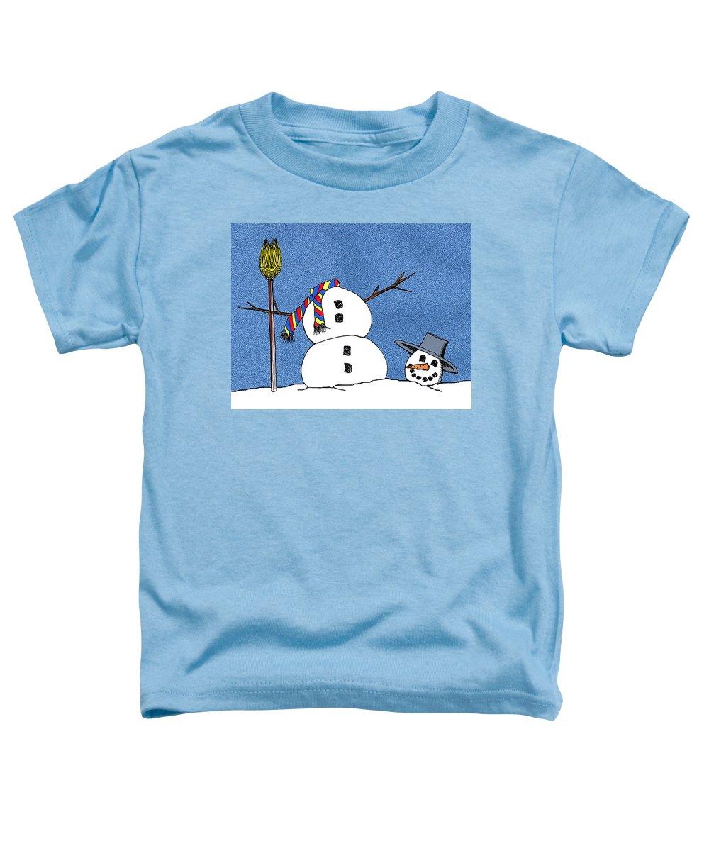 Snowman Toddler T-Shirt featuring the digital art Headless Snowman by Nancy Mueller