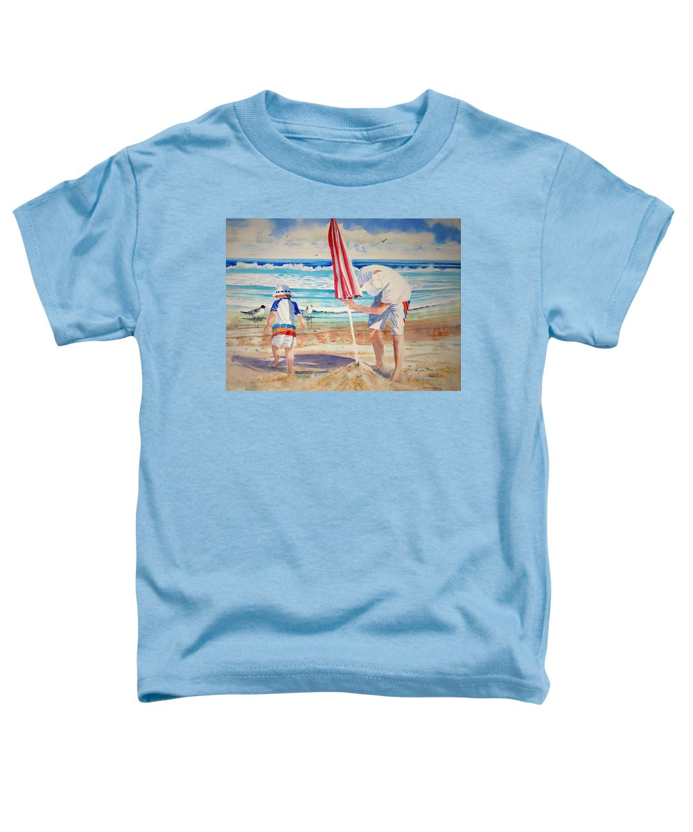 Beach Toddler T-Shirt featuring the painting Helping Dad Set Up The Camp by Tom Harris