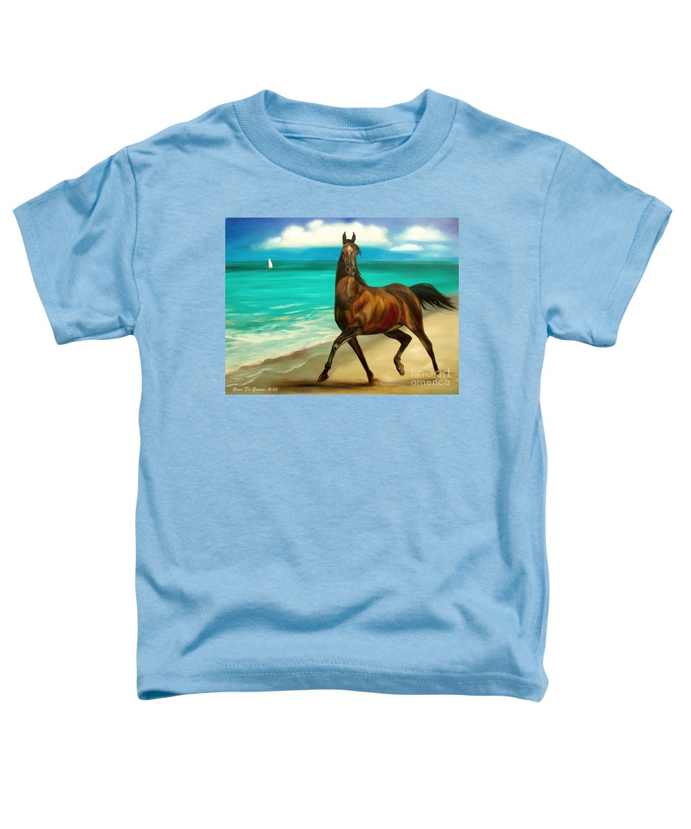 Horse Toddler T-Shirt featuring the painting Horses In Paradise Dance by Gina De Gorna