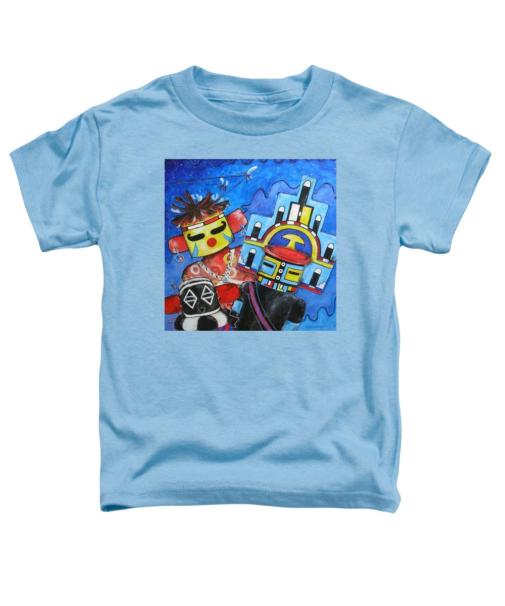 Native Toddler T-Shirt featuring the painting Kachina Knights by Elaine Booth-Kallweit