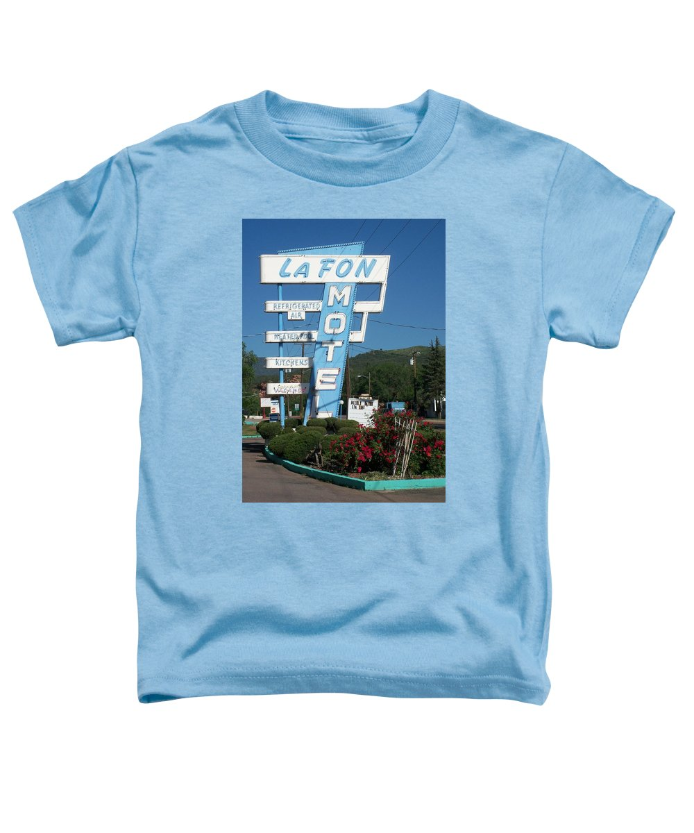 Vintage Motel Signs Toddler T-Shirt featuring the photograph Lafon Motel by Anita Burgermeister