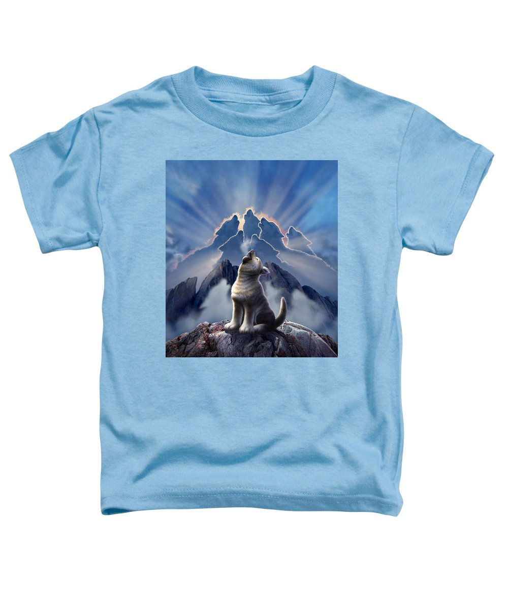 Wolf Toddler T-Shirt featuring the digital art Leader Of The Pack by Jerry LoFaro