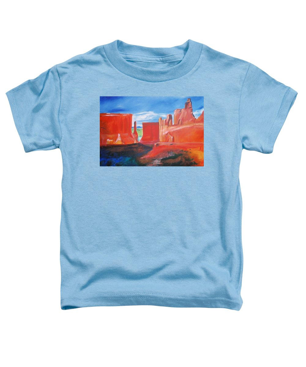 Floral Toddler T-Shirt featuring the painting Monument Valley by Eric Schiabor