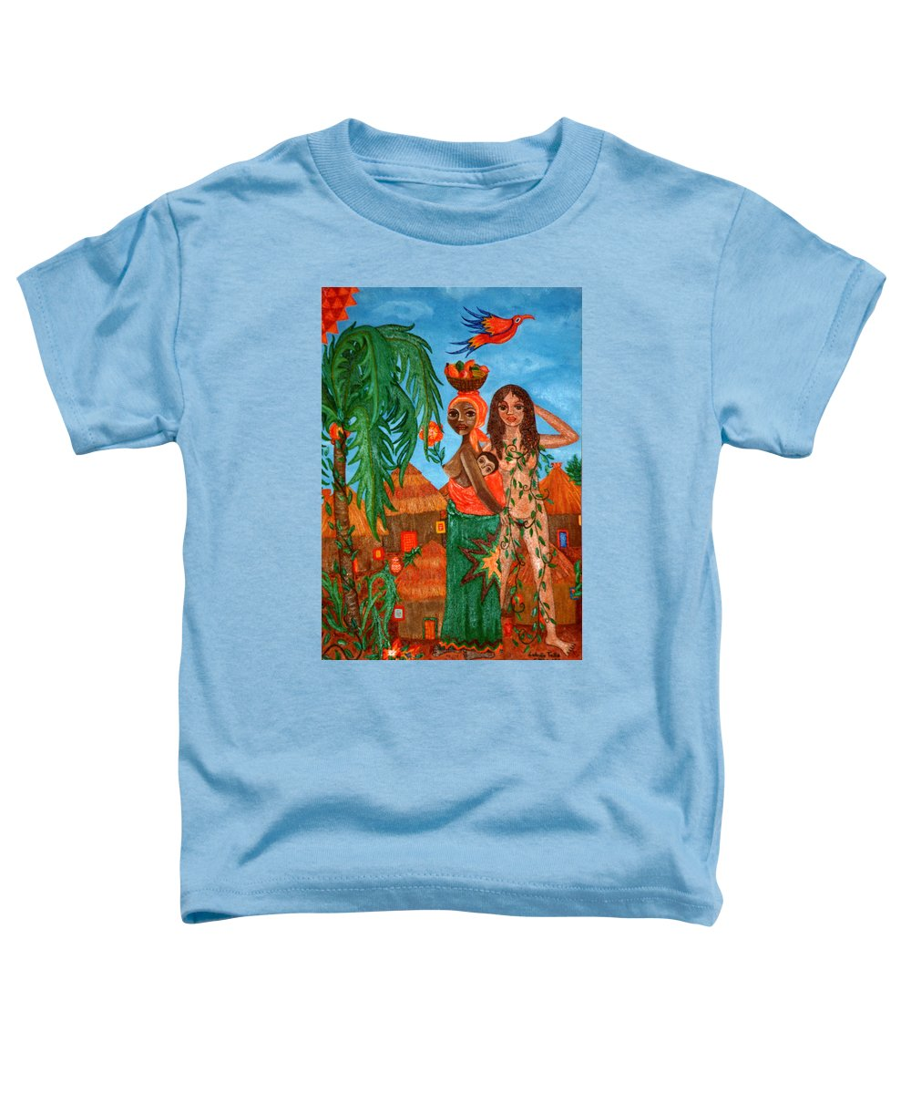 Mother Toddler T-Shirt featuring the painting Mother Black Mother White by Madalena Lobao-Tello