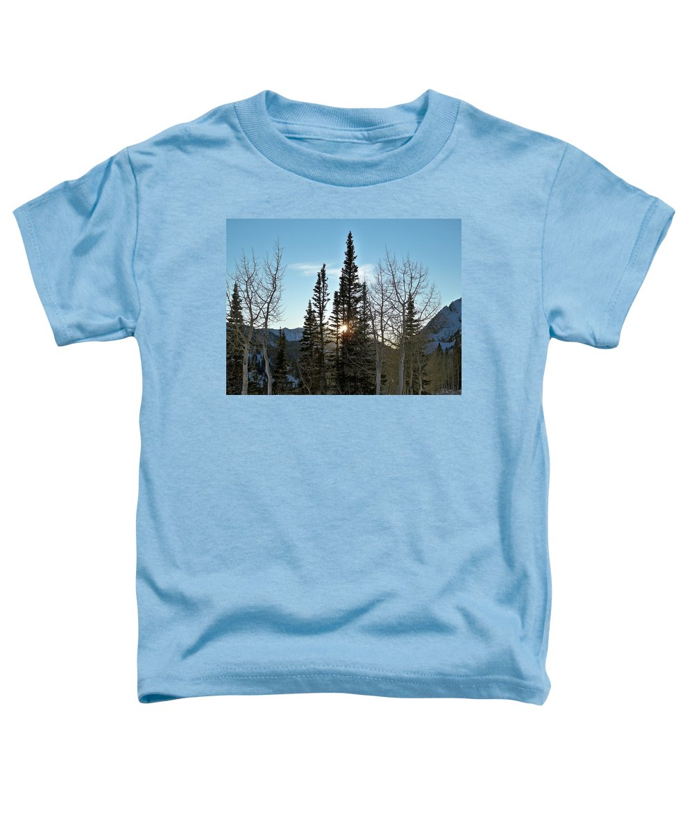 Rural Toddler T-Shirt featuring the photograph Mountain Sunset by Michael Cuozzo
