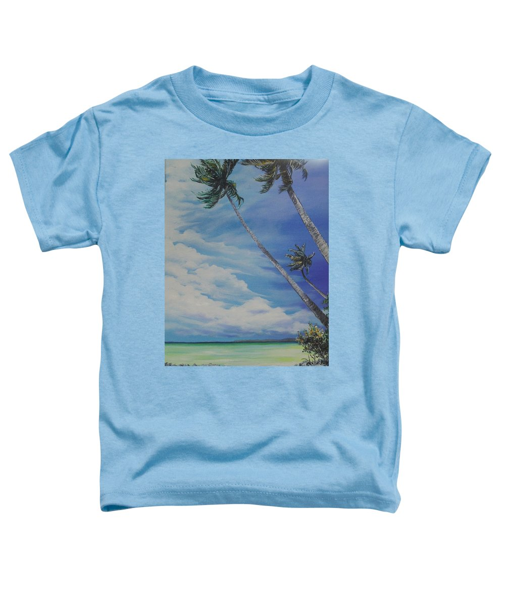 Ocean Painting Seascape Painting Beach Painting Palm Tree Painting Clouds Painting Tobago Painting Caribbean Painting Sea Beach T Obago Palm Trees Toddler T-Shirt featuring the painting Nylon Pool Tobago. by Karin Dawn Kelshall- Best