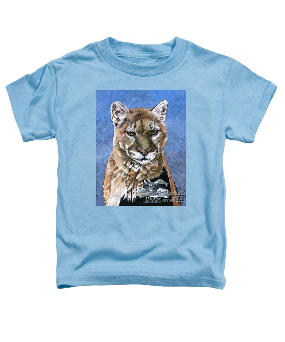 Puma Toddler T-Shirt featuring the painting Puma - The Hunter by J W Baker