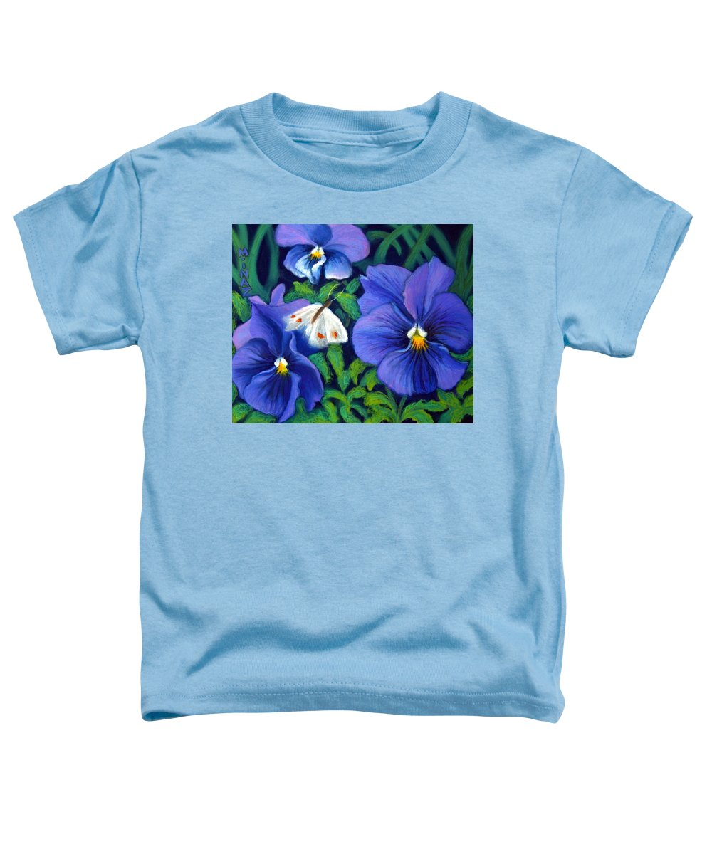 Pansy Toddler T-Shirt featuring the painting Purple Pansies And White Moth by Minaz Jantz