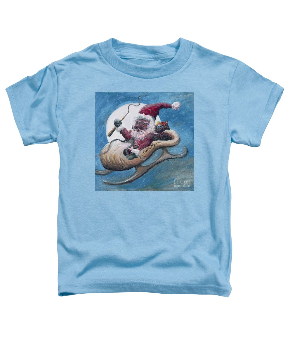 Christmas Toddler T-Shirt featuring the painting Santa Hog by Nadine Rippelmeyer