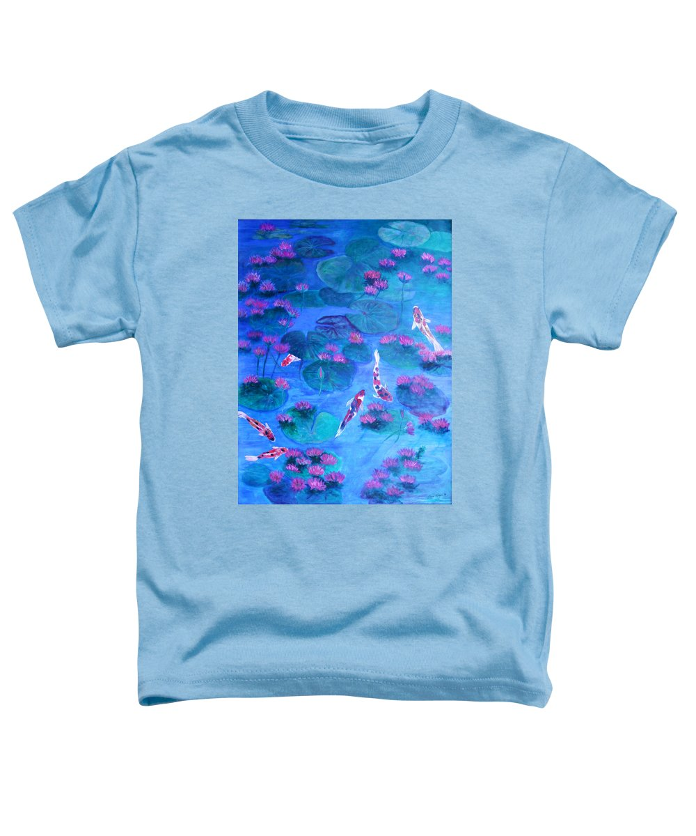 Lily Pads Toddler T-Shirt featuring the painting Serene Pond by Ben Kiger