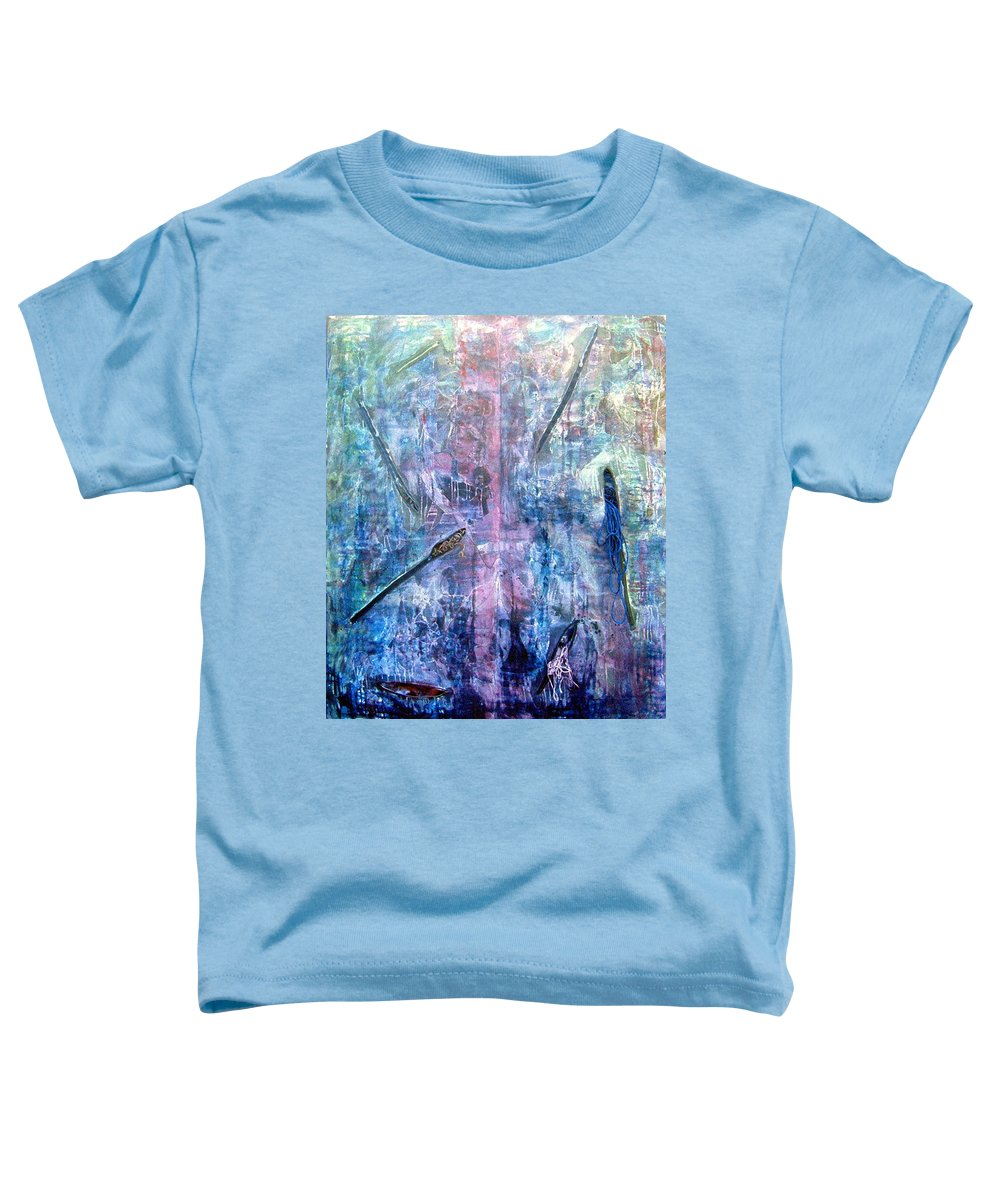 Abstract Toddler T-Shirt featuring the painting Seven Zippers by Nancy Mueller