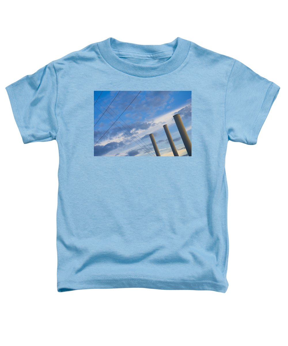 Blue Toddler T-Shirt featuring the photograph Smoke Stax by Skip Hunt