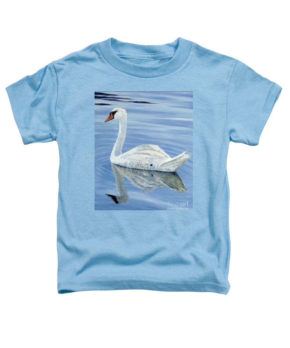 Swan Toddler T-Shirt featuring the painting Solitary Swan by Danielle Perry