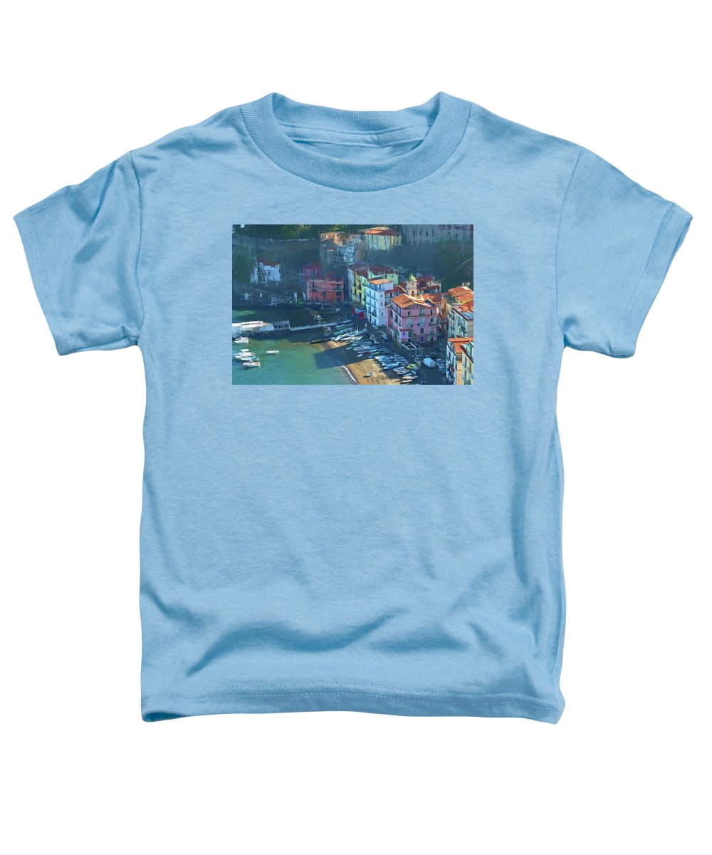 Photopainting Toddler T-Shirt featuring the photograph Sorrento Marina Grande Colored Pencil by Allan Van Gasbeck