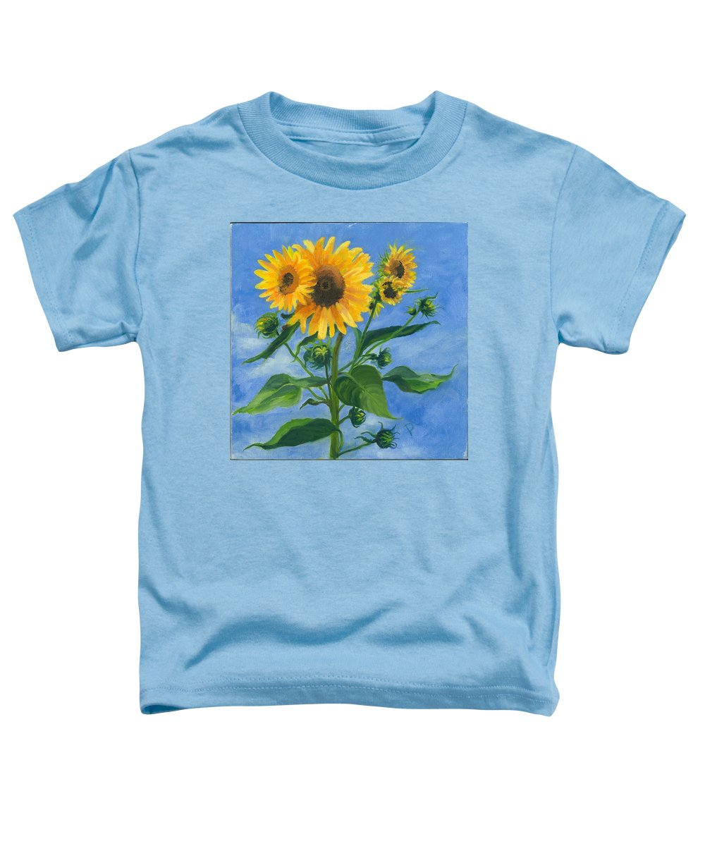 Flowers Toddler T-Shirt featuring the painting Sunflowers On Bauer Farm by Paula Emery