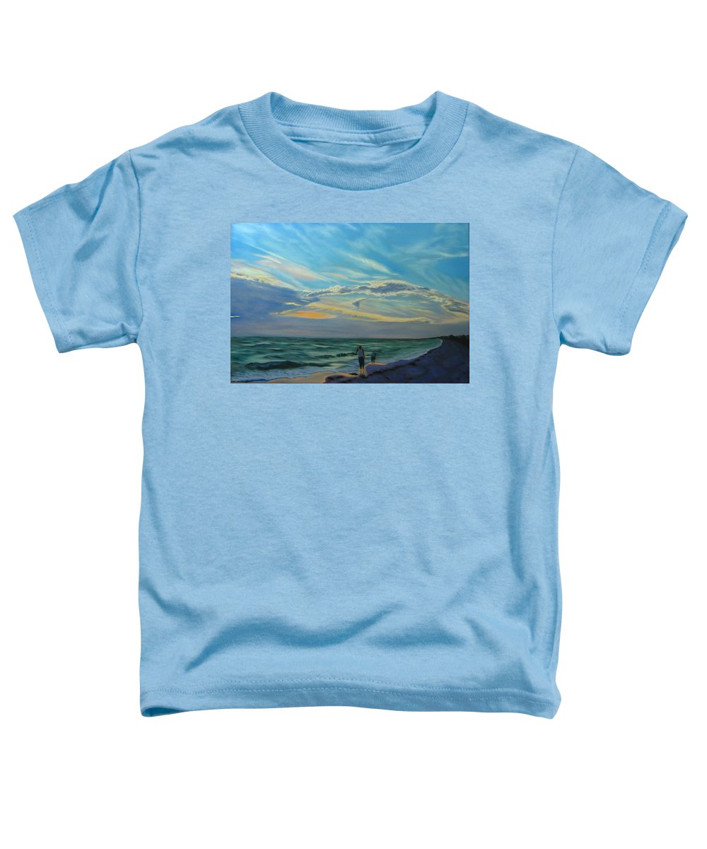 Seascape Toddler T-Shirt featuring the painting Sunset Treasure Hunt by Lea Novak