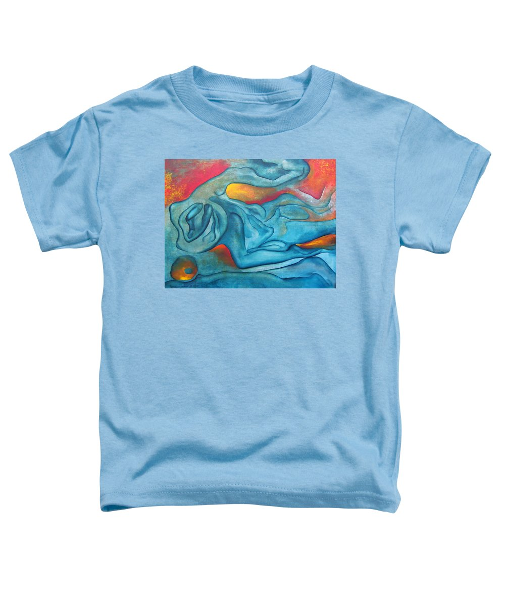 Abstract Blues Love Passion Sensual Earth Toddler T-Shirt featuring the painting Tangled Up by Veronica Jackson