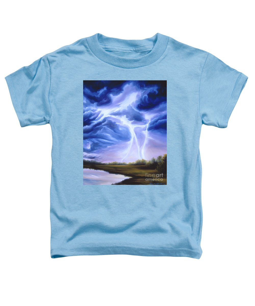 Marsh Toddler T-Shirt featuring the painting Tesla by James Christopher Hill