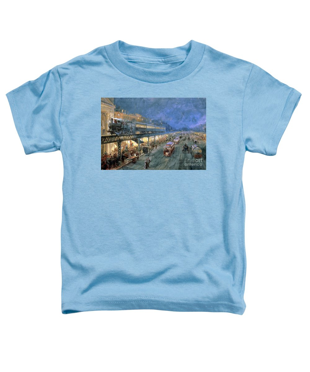 The Bowery At Night Toddler T-Shirt featuring the painting The Bowery At Night by William Sonntag