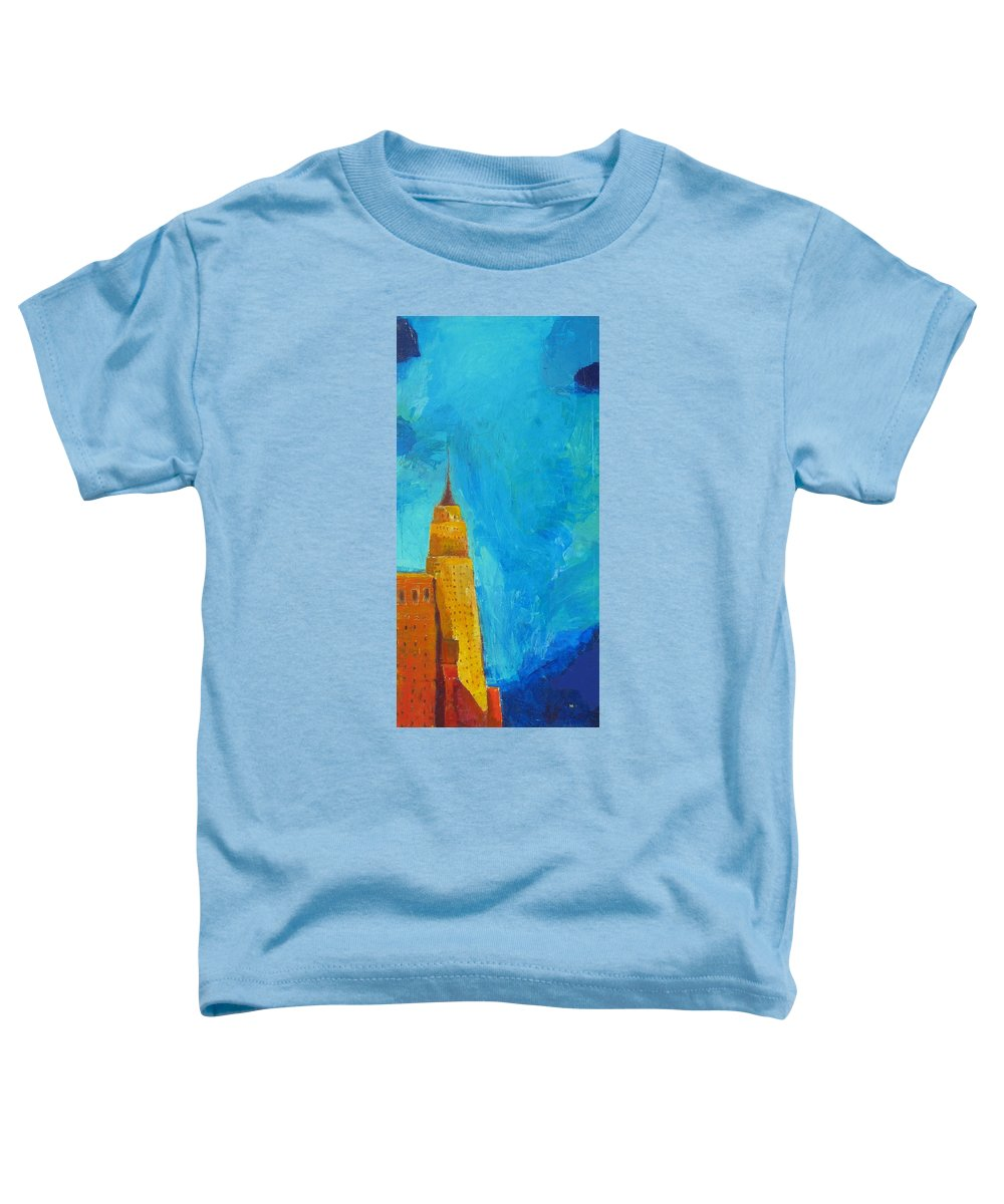 Abstract Cityscape Toddler T-Shirt featuring the painting The Empire State by Habib Ayat