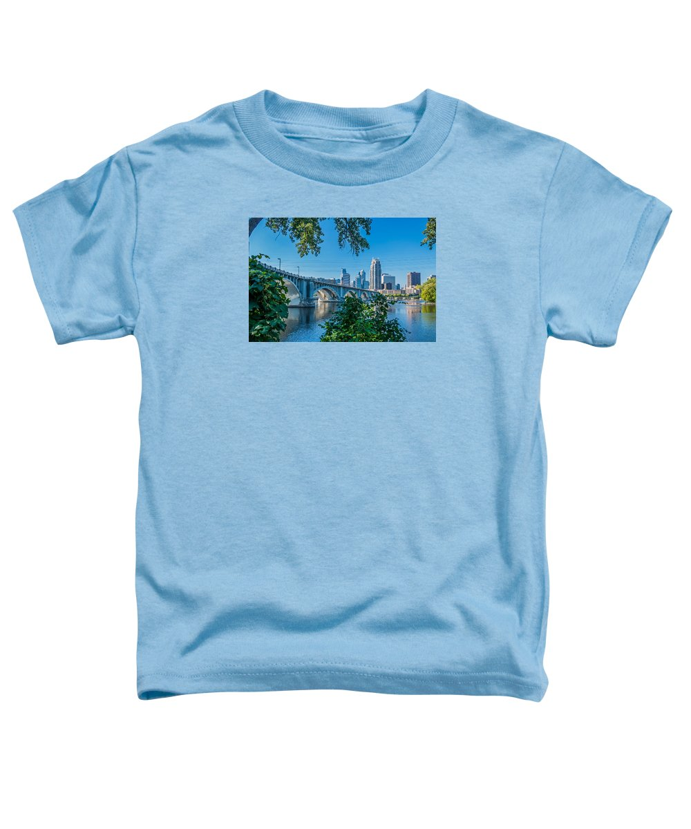 Third Avenue Bridge; Bridge; Mississippi River; St. Anthony Riverplace; Minneapolis Toddler T-Shirt featuring the photograph Third Avenue Bridge Over Mississippi River by Lonnie Paulson