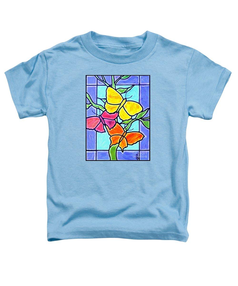Butterflies Toddler T-Shirt featuring the painting Three Butterflies by Jim Harris