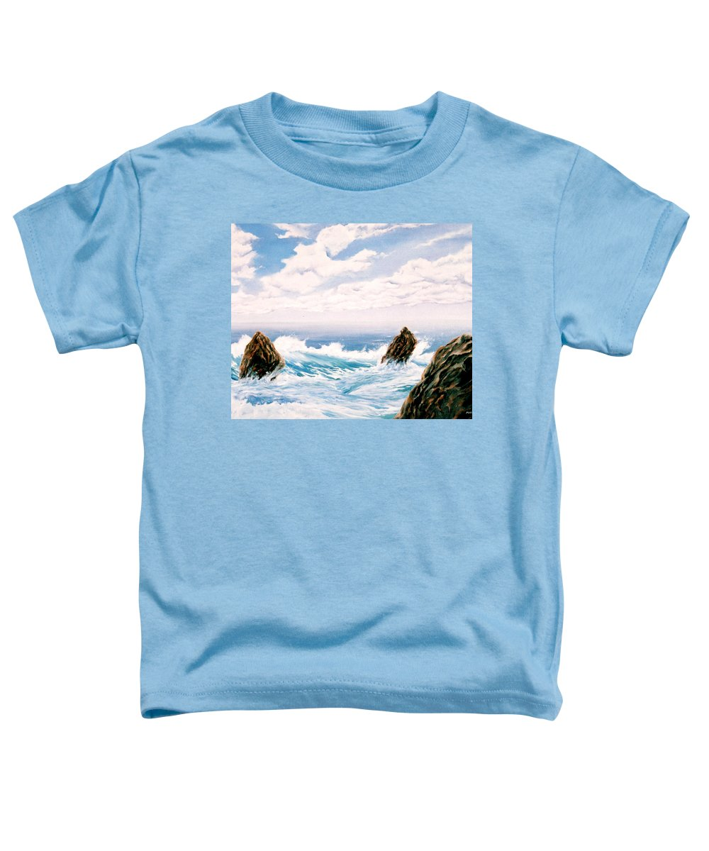 Seascape Toddler T-Shirt featuring the painting Three Rocks by Mark Cawood