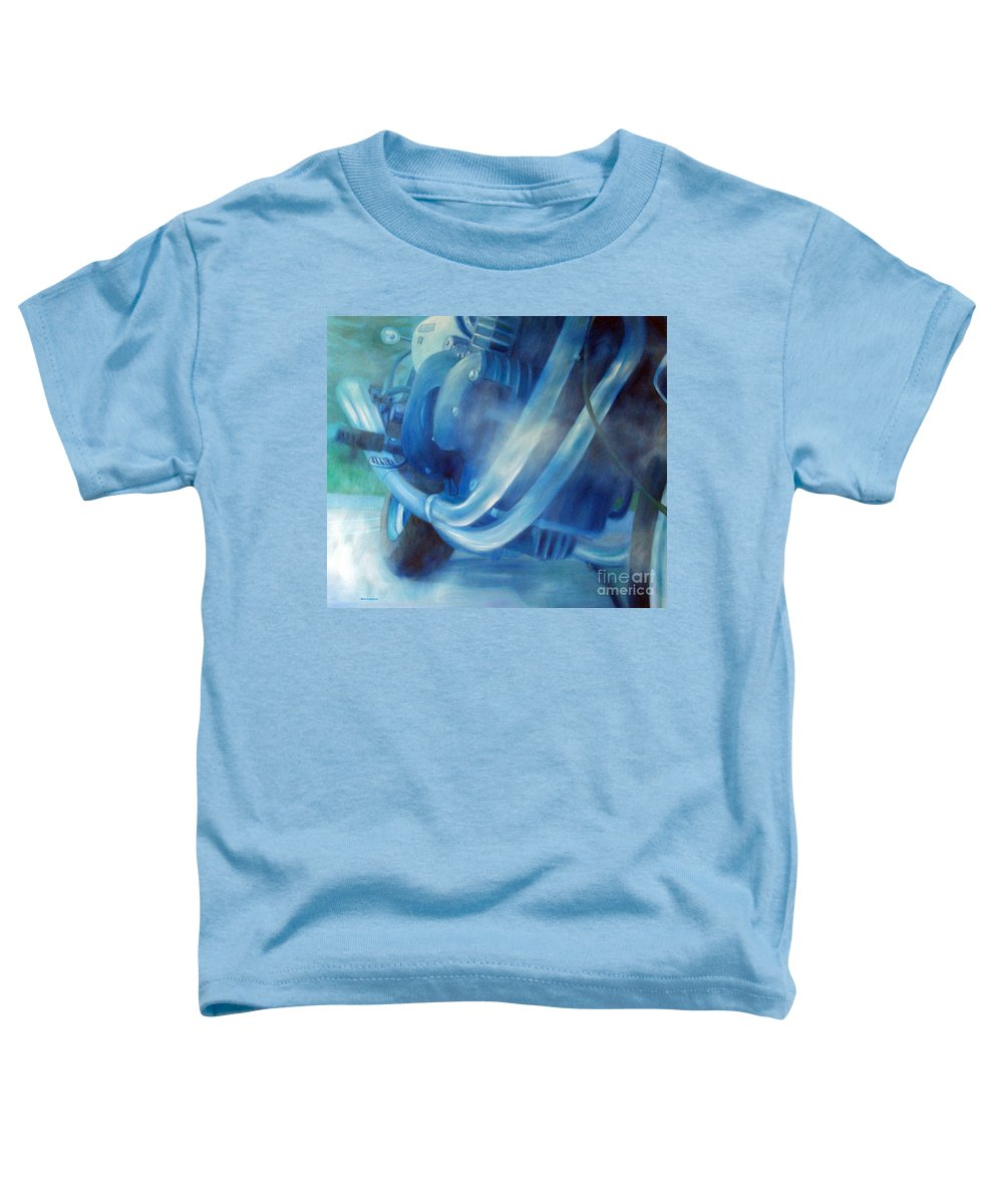 Motorcycles Toddler T-Shirt featuring the painting Torque Triple - Triumph Thunderbird Sport by Brian Commerford