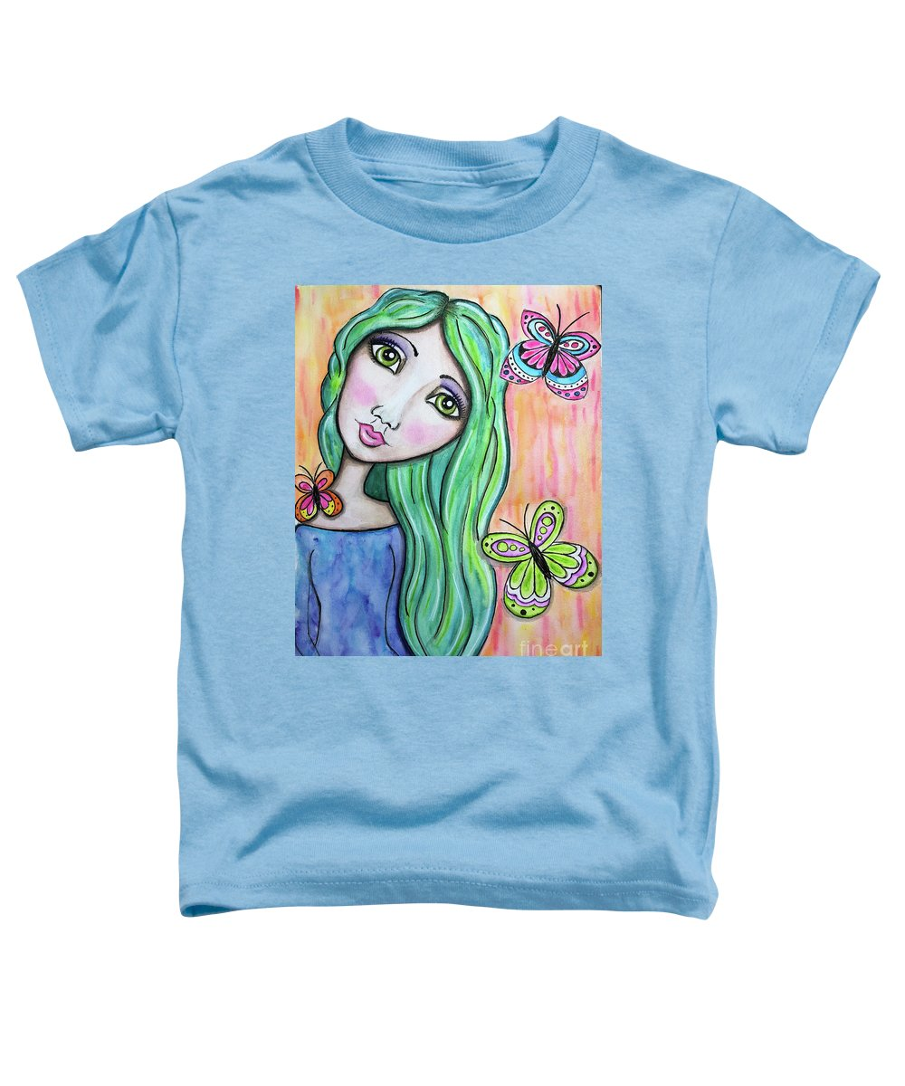 Whimsical Character Toddler T-Shirt featuring the painting Hazel by Nadine Larder
