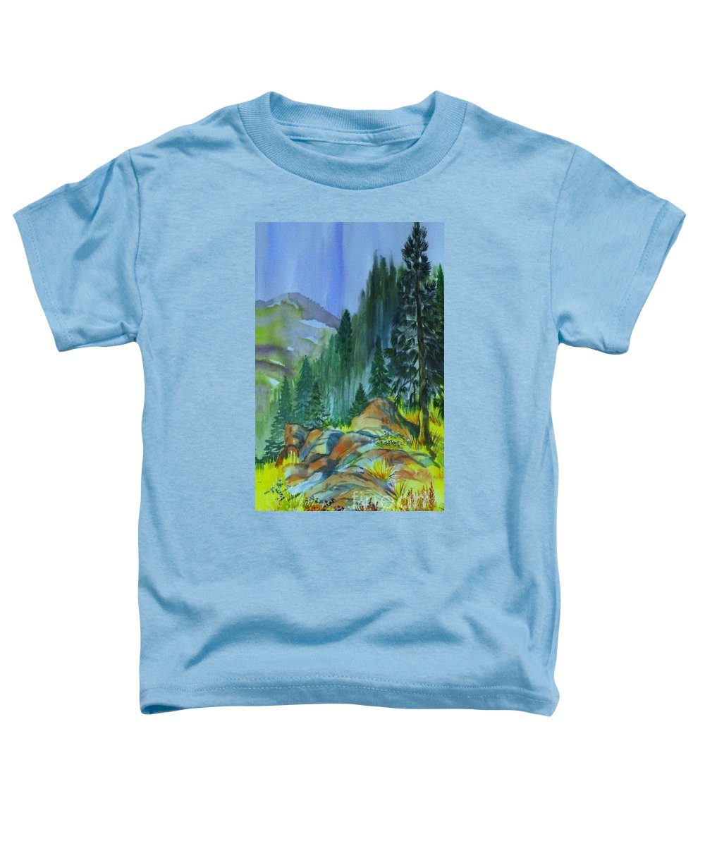 Watercolor Of Forest In Mountains Toddler T-Shirt featuring the painting Watercolor of Mountain Forest by Annie Gibbons