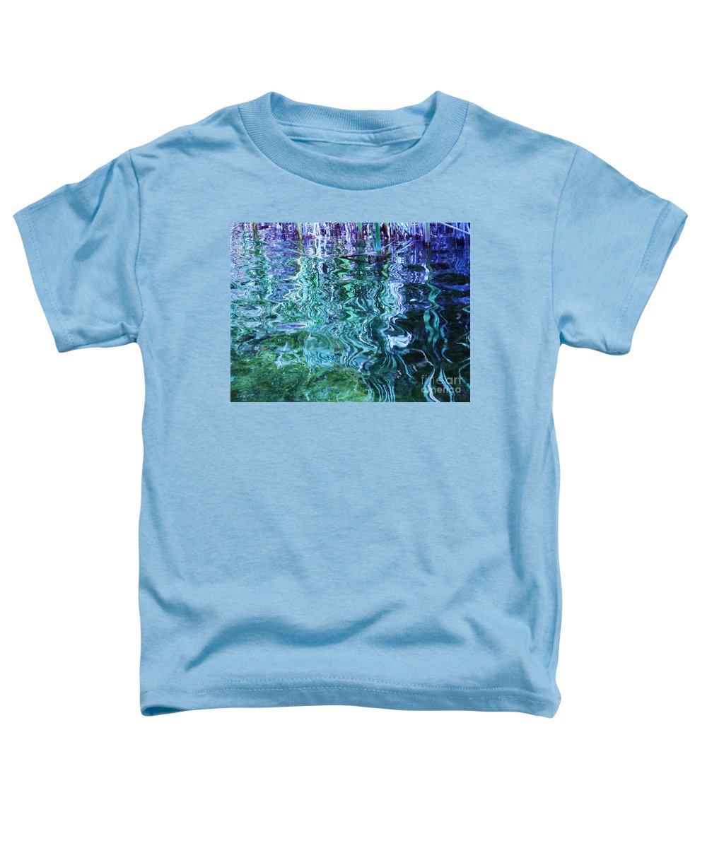 Photograph Blue Green Weed Shadow Lake Water Toddler T-Shirt featuring the photograph Weed Shadows by Seon-Jeong Kim