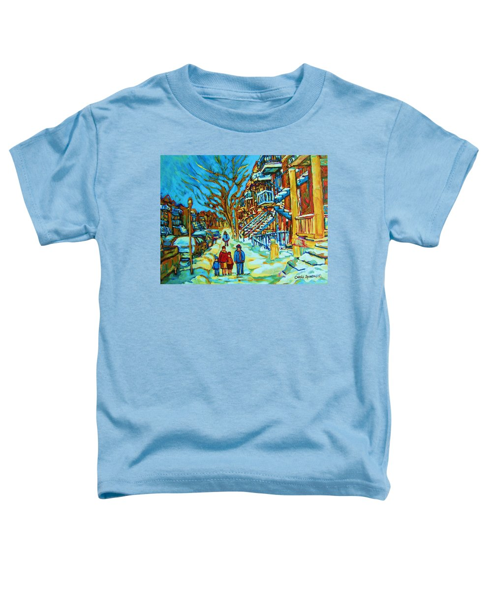 Winterscenes Toddler T-Shirt featuring the painting Winter Walk In The City by Carole Spandau