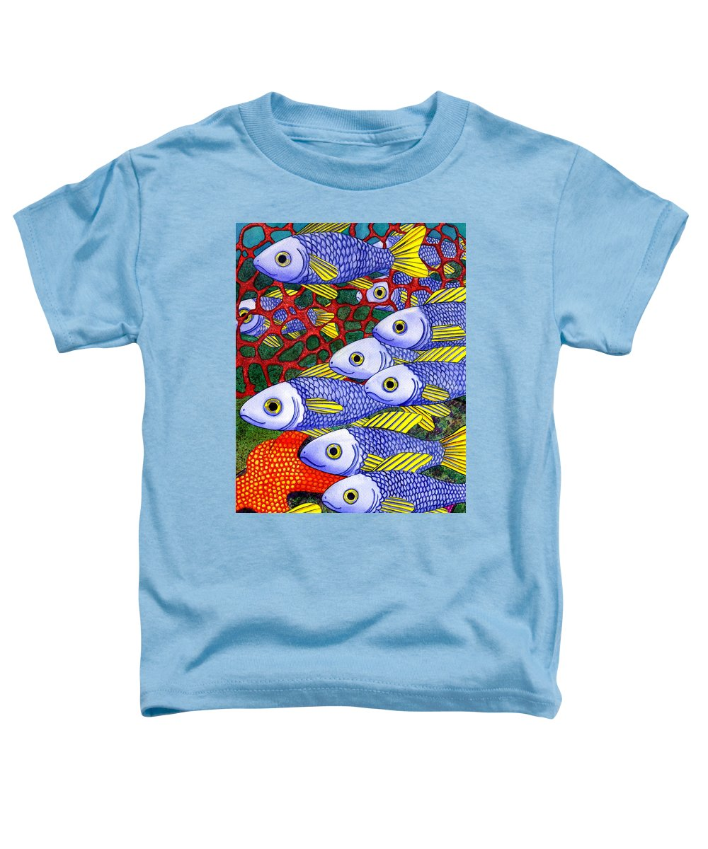 Fish Toddler T-Shirt featuring the painting Yellow Fins by Catherine G McElroy