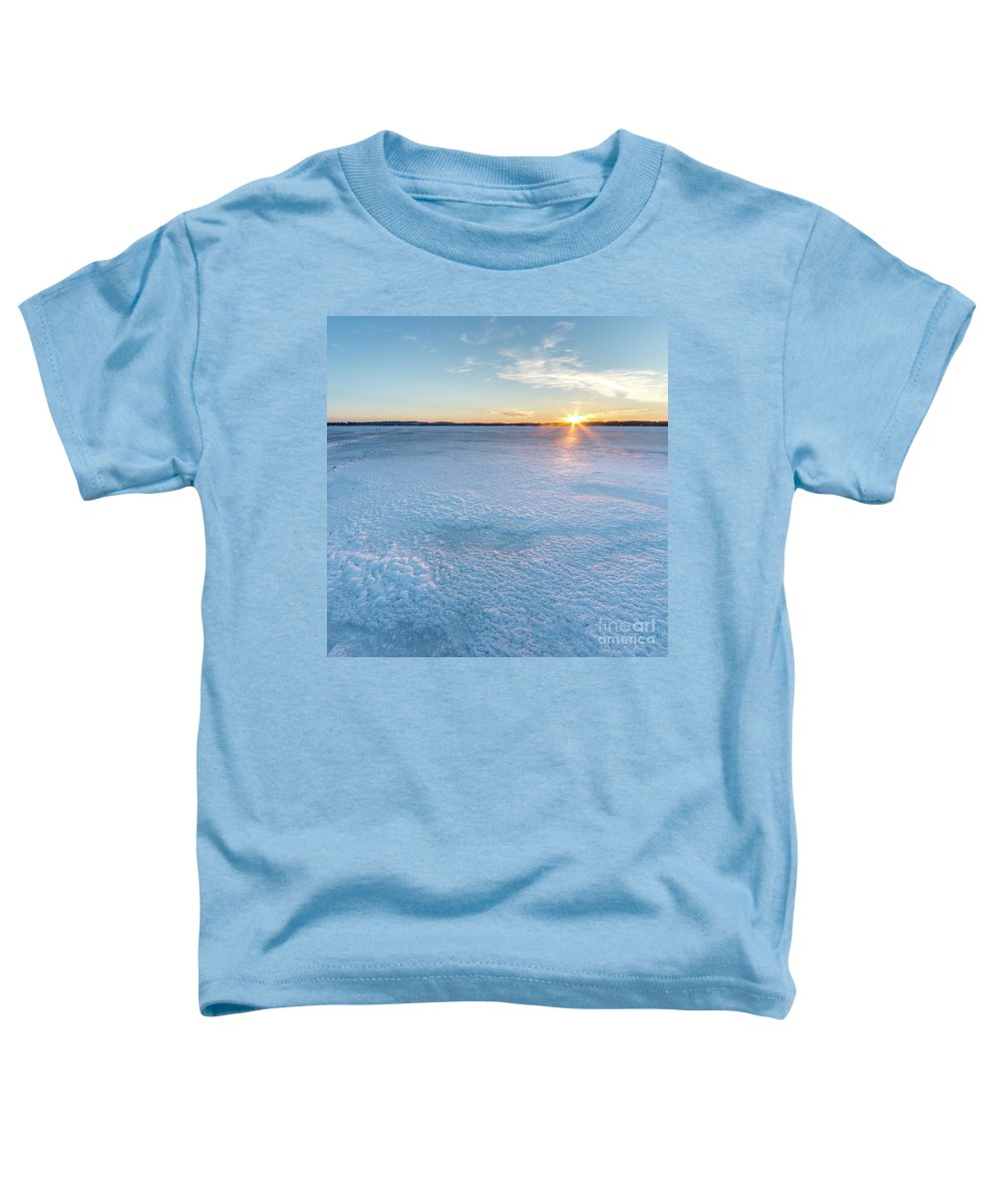 Bear Lake Toddler T-Shirt featuring the photograph Icy Sunset Square by Twenty Two North Photography