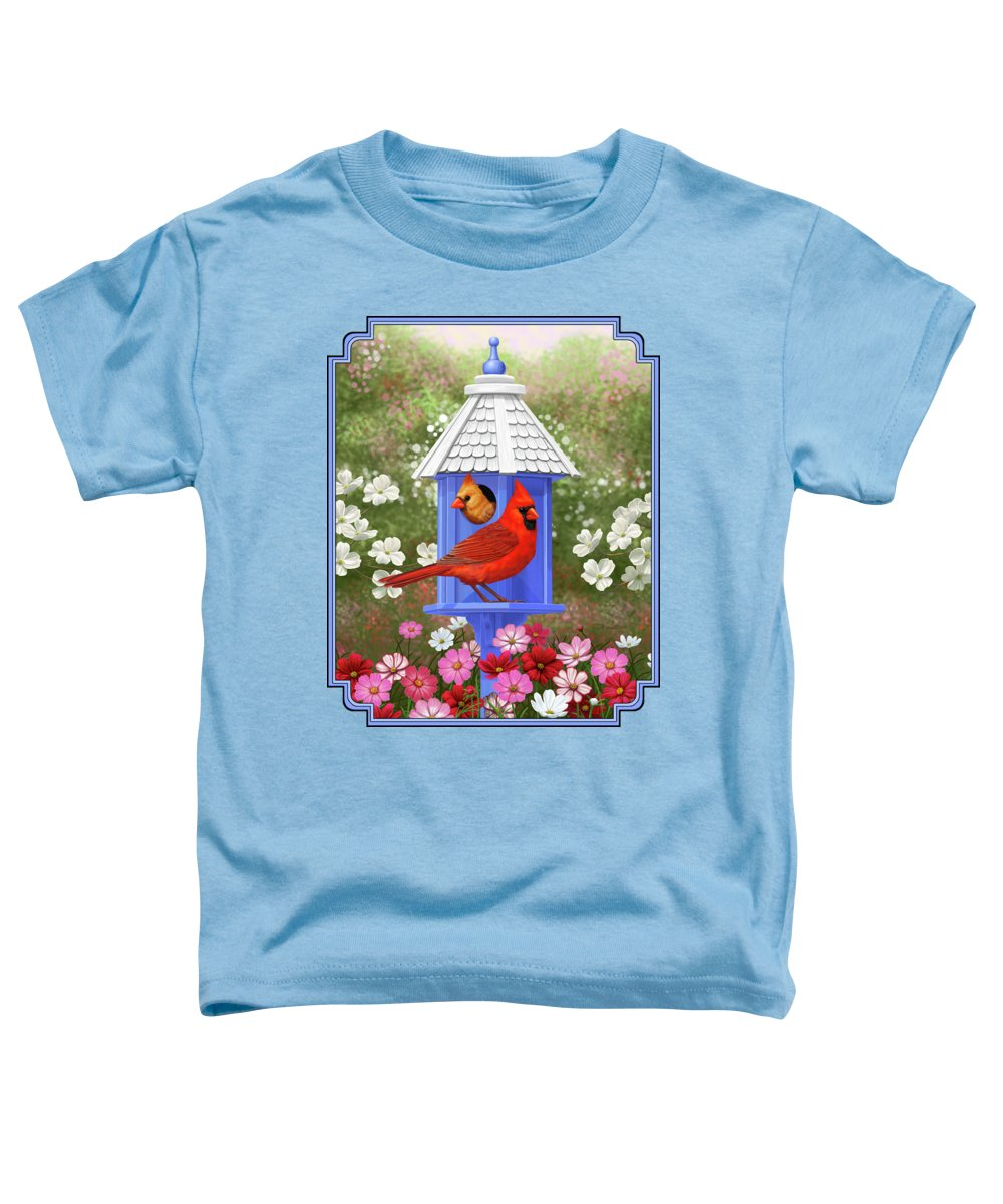 Wild Birds Toddler T-Shirt featuring the painting Spring Cardinals by Crista Forest