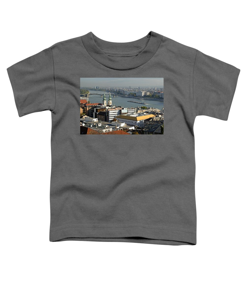Aerial Toddler T-Shirt featuring the photograph Danube River, Budapest, Hungary by Theodore Clutter