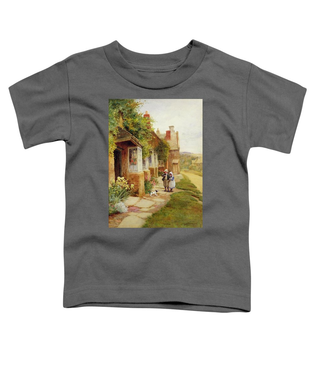 Village Toddler T-Shirt featuring the painting The Puppy by Arthur Claude Strachan