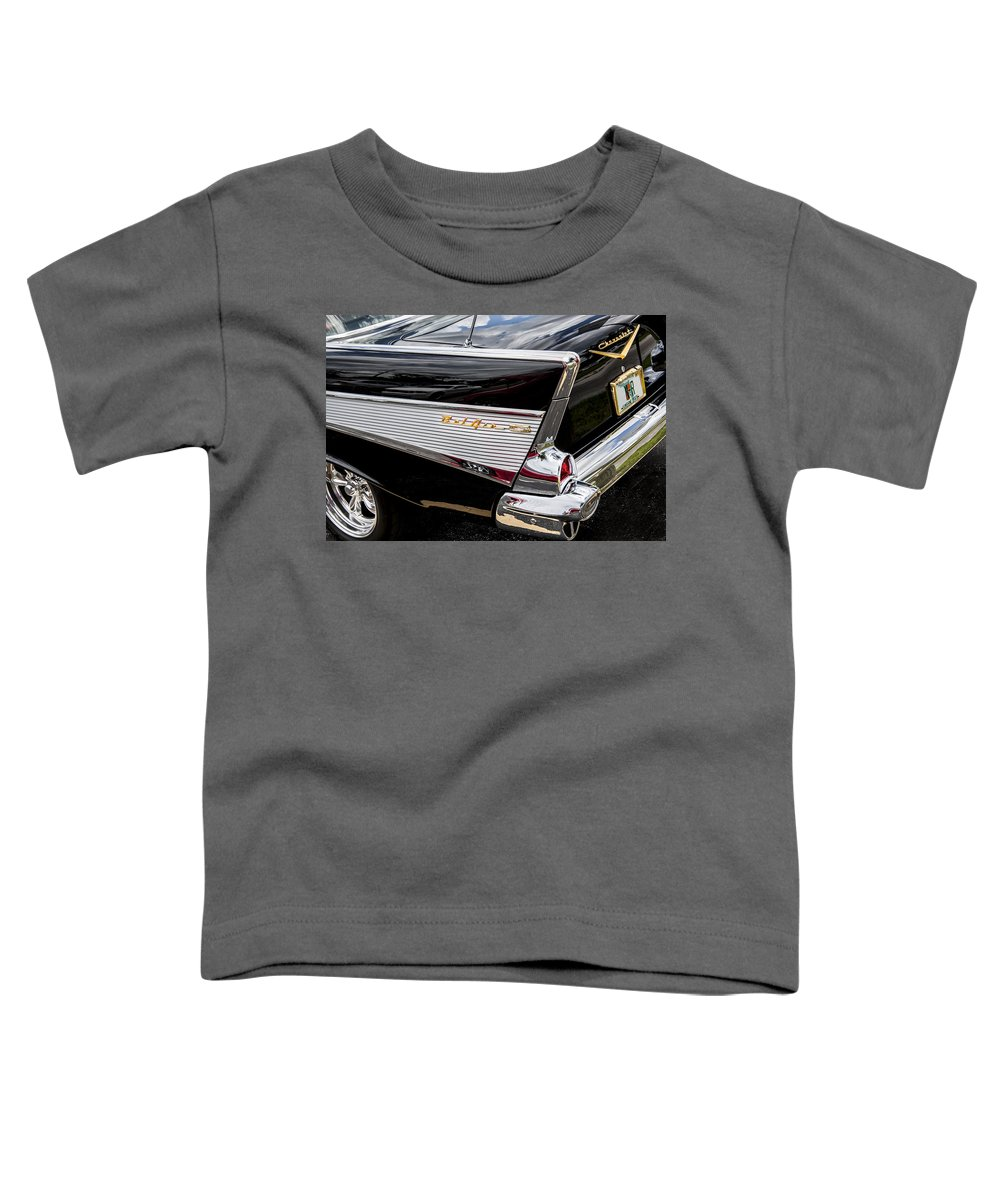 V8 Engine Toddler T-Shirt featuring the photograph 1957 Chevrolet Bel Air by Rich Franco