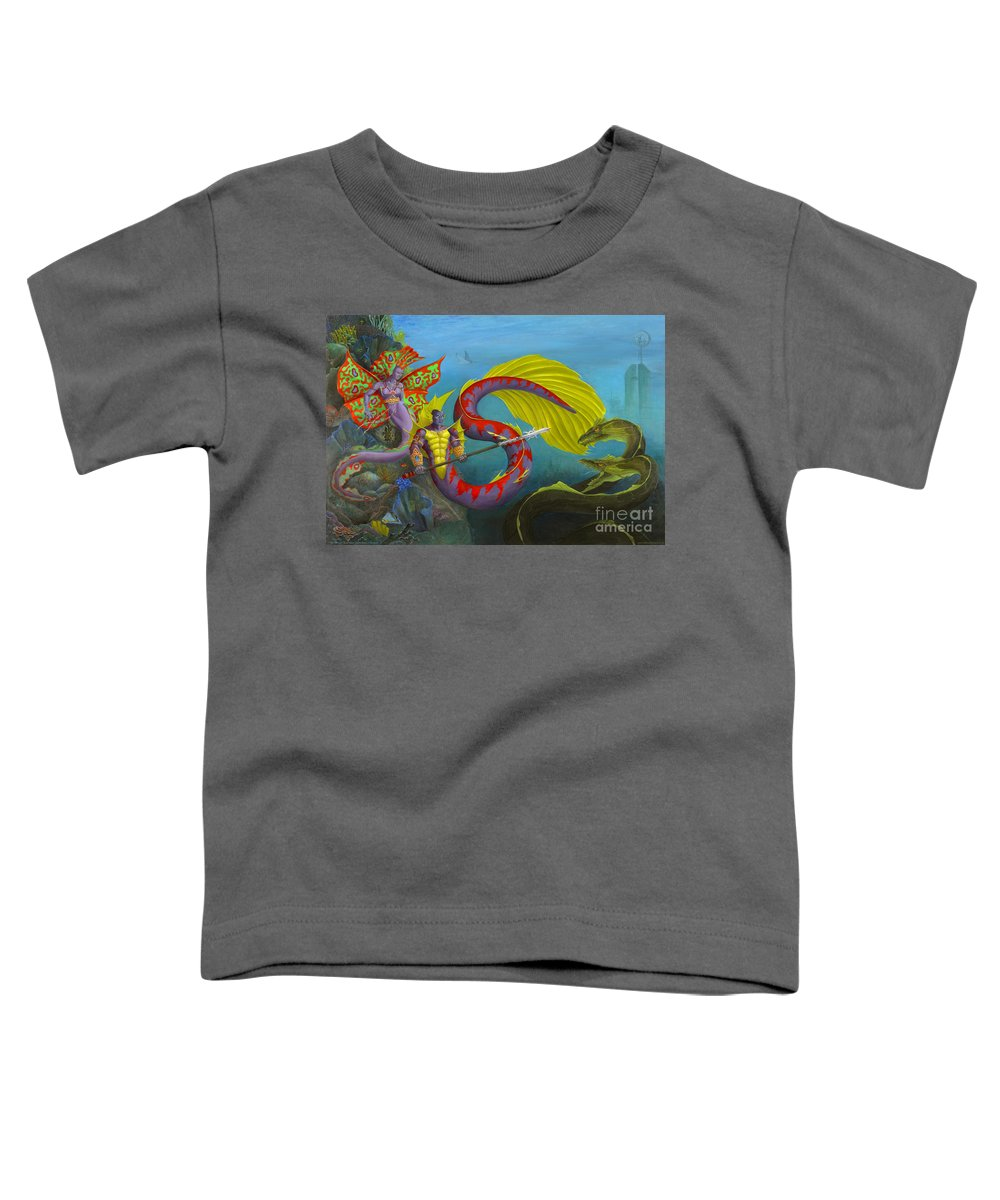 Mermaid Toddler T-Shirt featuring the painting The Threat by Melissa A Benson