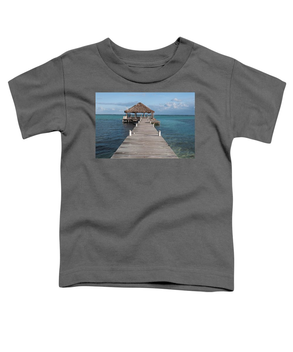 Belize Toddler T-Shirt featuring the photograph Beach Deck With Palapa Floating In The Water by Brandon Bourdages