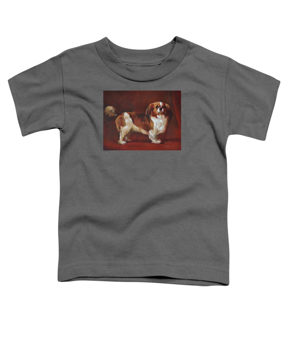 Pastel Toddler T-Shirt featuring the painting A King Charles Spaniel by Iliyan Bozhanov