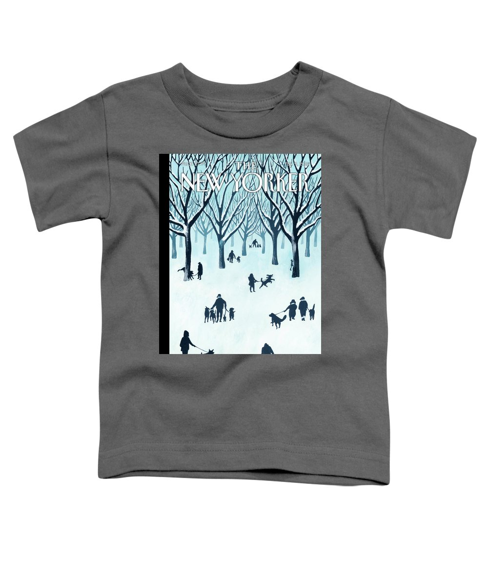 Snow Toddler T-Shirt featuring the painting A Walk In The Snow by Mark Ulriksen